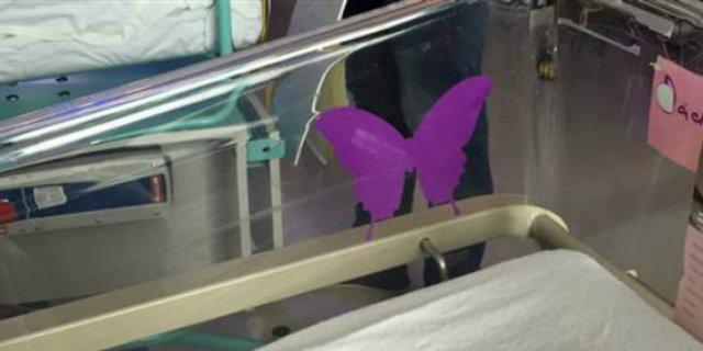 Farfalla viola sulla culla del neonato